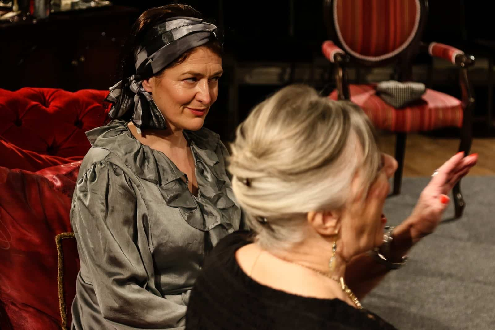 Photo of Marie Cooper Actor as Anna Mary becoming increasing irritated at Verner interrupting - Photo onstage during Come into the Garden Maud onstage during Come into the Garden Maud