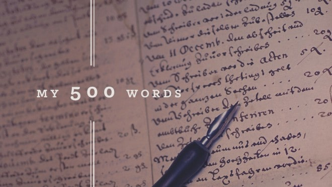 500 Words Writing Challenge pen and paper