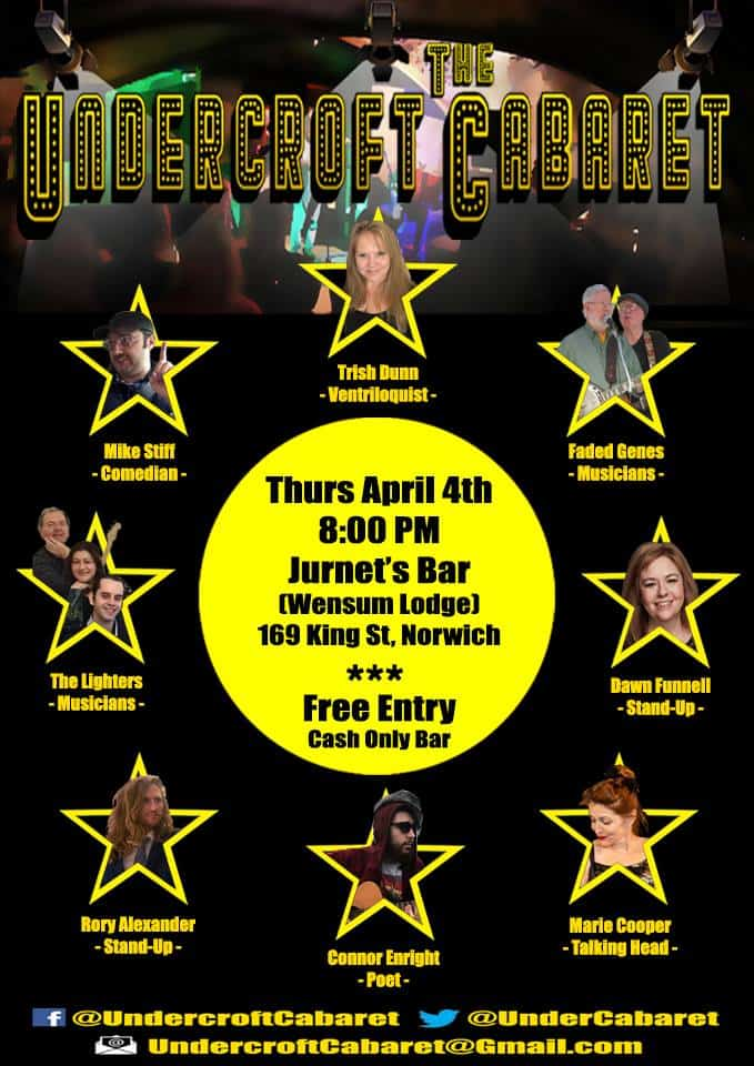 Poster showing lineup for the Undercroft Cabaret
