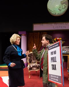 Norwich Actor Marie Cooper portraying Margaret Thatcher in Handbagged
