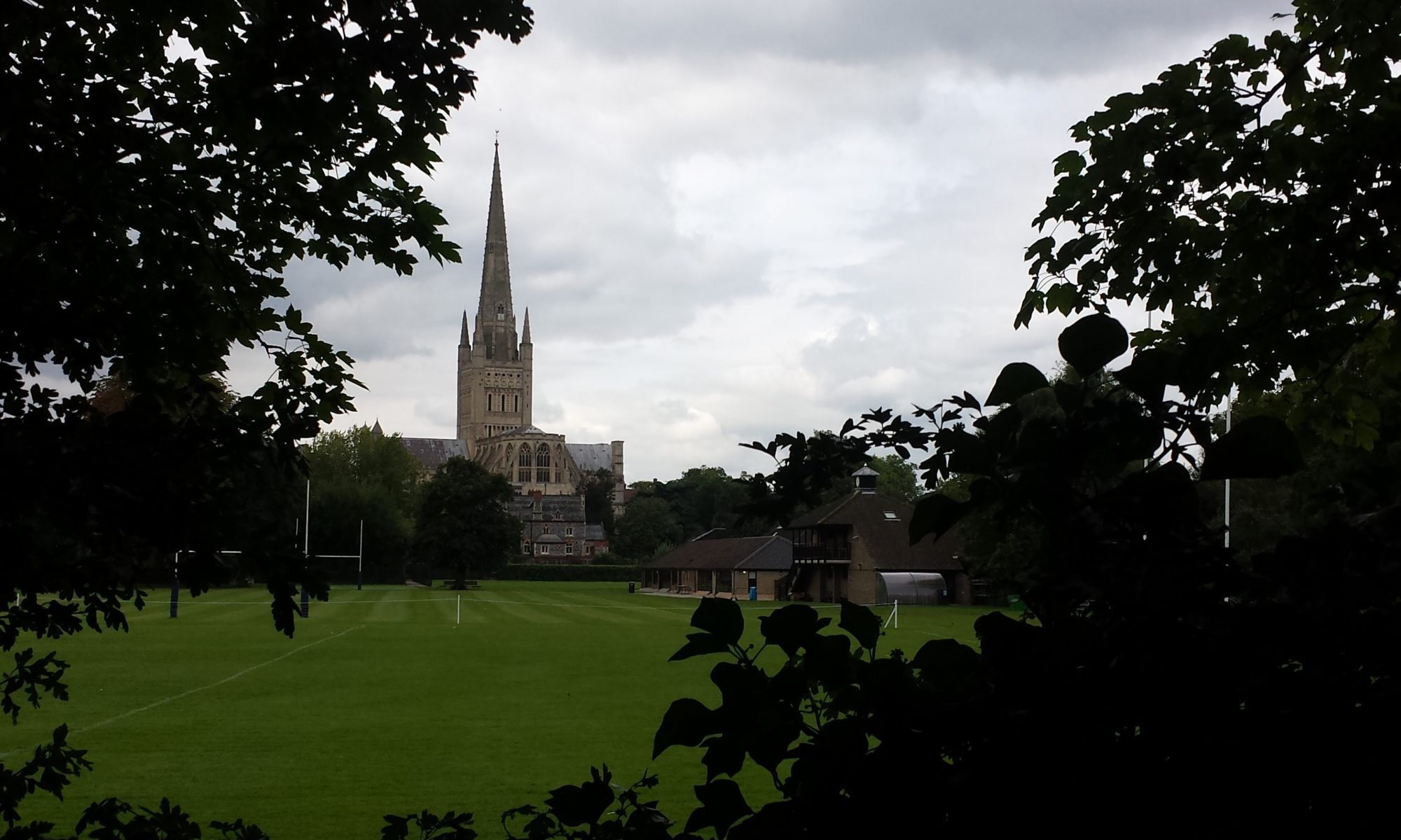 Photograph of Norwich Cathedral, taken by Marie Cooper, overlooking the Norwich School fields