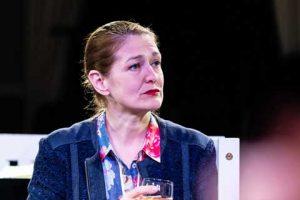 Norfolk actor Marie Cooper playing Ann Wingate in Murder in Neighbourhood Watch. Ann having a drink with Sandra