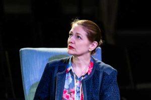 Norfolk actor Marie Cooper playing Ann Wingate in Murder in Neighbourhood Watch. Listening to Andrew