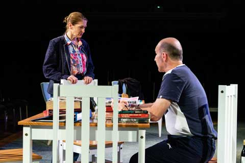 Norfolk actor Marie Cooper playing Ann Wingate in Murder in Neighbourhood Watch. Ann does not believe Andrew