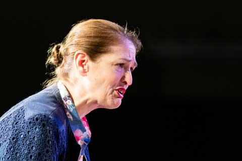 Norfolk actor Marie Cooper playing Ann Wingate in Murder in Neighbourhood Watch. Ann interrogates Andrew